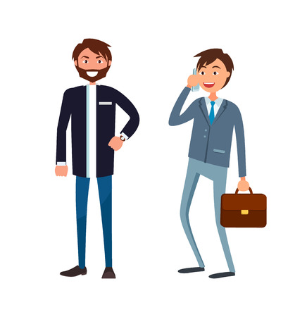 Bearded businessman in formal wear and executive worker with briefcase speaking on phone discussing business issues. Male office workers in suits vector Illustration