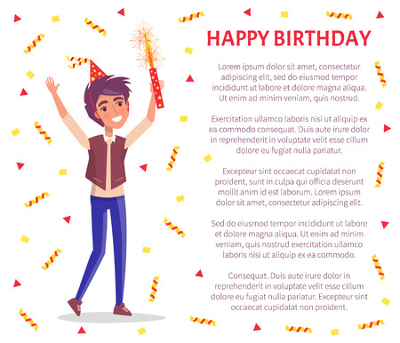 Happy birthday invitation card, man with firework in hand and text sample. Vector male cartoon character celebrating Bday party, smiling guy with flapper