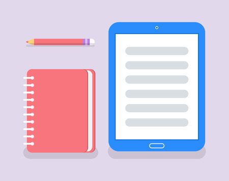 Cuaderno para escribir notas y vector de información personal. Papel con encuadernación en espiral, lápiz y libro electrónico, dispositivo de tableta que ayuda en el aprendizaje educativo Ilustración de vector
