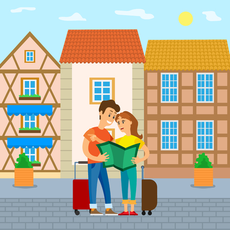Traveling people arrived in city vector, couple lost in new town looking at map, holding luggage. Woman and man on summer vacation, happy travelers