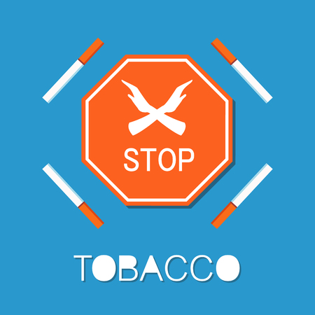Stop red sign with two crossed hands, smoking is forbidden symbol isolated. Refuse from harmful habit , cigarettes are not allowed vector illustration