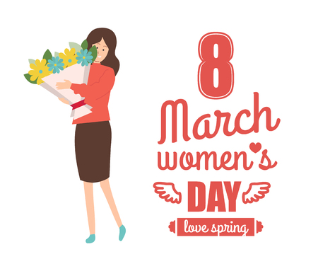 Vector female with blooming celebrate international spring holiday. 8 march womens day greetings and business woman in blouse and skirt with bouquet of flowers