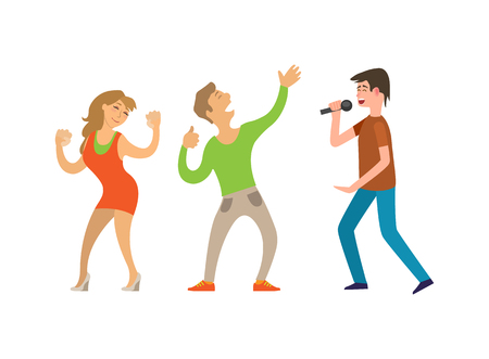 Man singing with microphone and dancing couple of boy and girl isolated on white. People with hands up at disco, performance and side view of singer vector Illustration