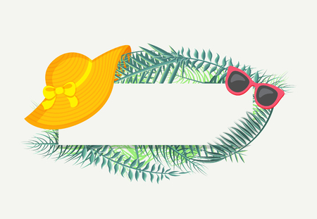 Banner with green tropical leaves, summer hat and sunglasses. Vector isolated frame with spare place for text, exotic foliage and summertime attributes Ilustrace