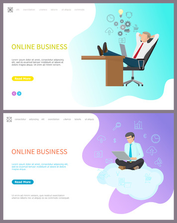 Online business, boss relaxing at workplace set of web with text vector. Creative thoughts of worker, businessman sitting on cloud working on laptop Stock Illustratie