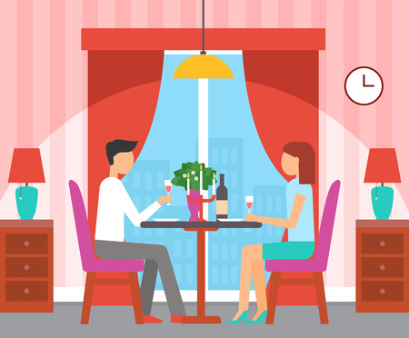 Couple sitting by table in restaurant vector. People dining, having lunch, romantic breakfast with wine and candles, vase with bouquet of flowers