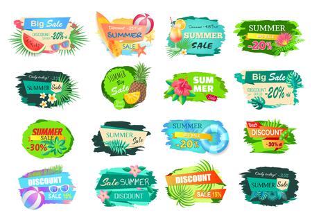 Set di banner di grande vendita estiva. Poster con foglie di alberi, cocktail e frutta. Anguria e ananas, tavola da surf e palla da pallavolo vettore