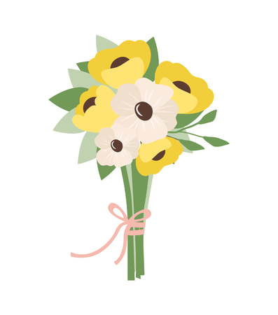 Flowers tied with ribbon vector, isolated icon of bouquet, yellow and white color. Blooming and foliage, flora and blossom of spring, daisybushes Ilustrace