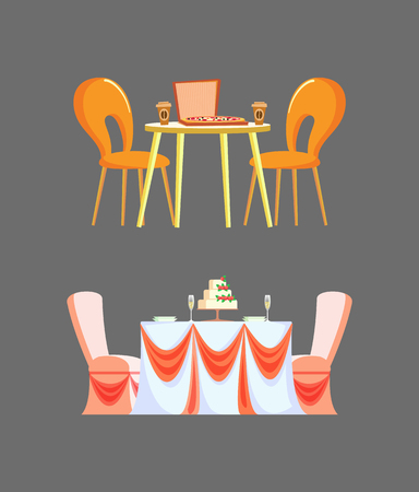 Wedding ceremony table decorated by ribbons tablecloth vector. Isolated food on desk pizzeria and coffee drink in plastic mug, italian restaurant futniture Illustration