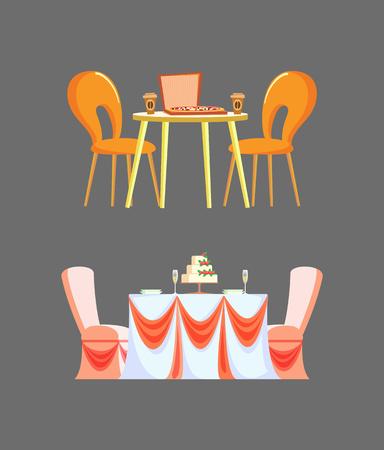 Table de cérémonie de mariage décorée par le vecteur de nappe de rubans. Nourriture isolée sur la pizzeria de bureau et boisson au café dans une tasse en plastique, futniture de restaurant italien Vecteurs