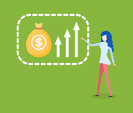 Woman showing ways of increasing financial growth. Vector cartoon woman pointing on flowchart, money bag with dollar sign isolate. Analytic lady and graphs Illustration