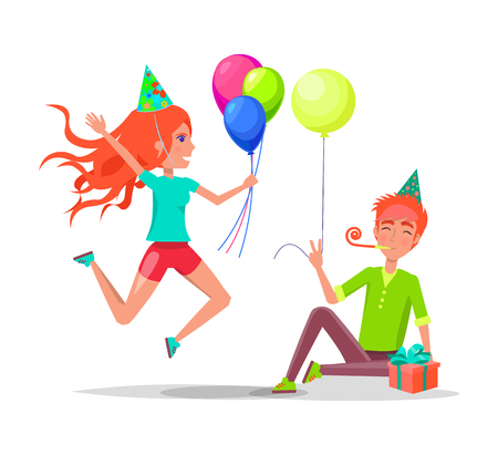 People celebrating birthday, man sitting on floor with party horn in mouth, in festive hat vector. Woman jumping with balloons, isolated characters