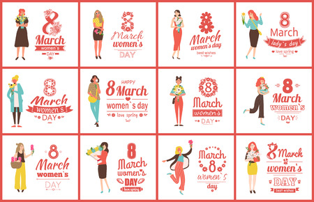 Womens day celebration vector, greeting posters with text and women holding bouquets. Feminine ladies with roses and tulips, blooming and foliage. 8 March set