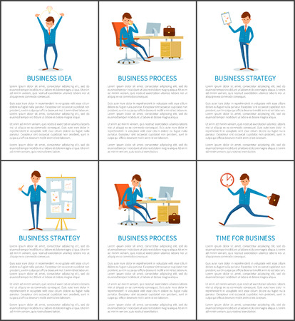 Business process, idea and success, businessman vector. Web pages with text, director talking on phone, running to work and holding victory gold prize