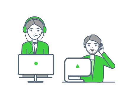 Helpline operators of center receive calls vector. Support non stop poster male and female at computers. Telemarketer representatives answer questions