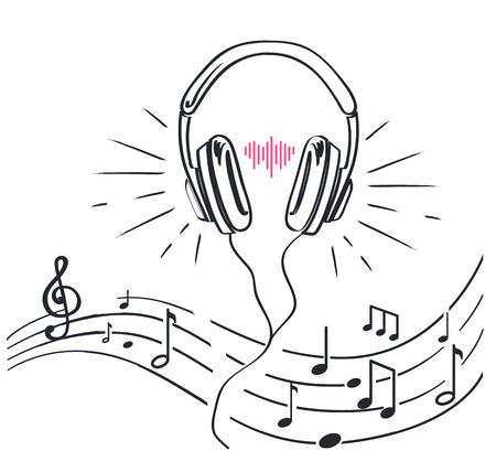 Auriculares y partituras con notas, bocetos monocromáticos delinean arte lineal vectorial aislado. Auriculares con diadema ajustable, volumen de audio estéreo