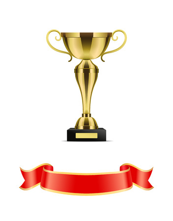 Gold trophy cup with red ribbon vector decoration icon. Shiny goblet with curly handles on pedestal, with glossy shaped and scroll string at bottom