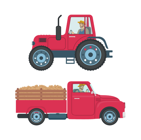Tractor with trailer isolated icons vector. Transportation of products harvesting cargo. Car automobile with driver in cabin, farmer driving vehicle