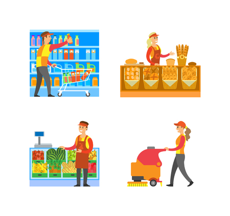 Supermarket bakery and fruits department with salesperson vector. Cleaner and merchandiser, breads and buns, melon and apples. Drinks in packages Çizim