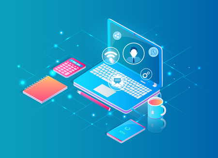 Desktop with laptop working in internet workplace concept, vector banner. Tablet with electronic service emblems bubbles, phone charging from gadget