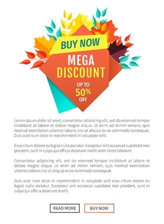 Mega discount buy now poster and banner. Reduction of price autumnal offer super quality of natural products discounts and sellout of goods vector Standard-Bild - 124685835