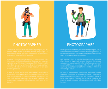 Photographers with cameras and equipment posters with text sample. Man holding tripod, carrying backpack, photo session order vector illustrations