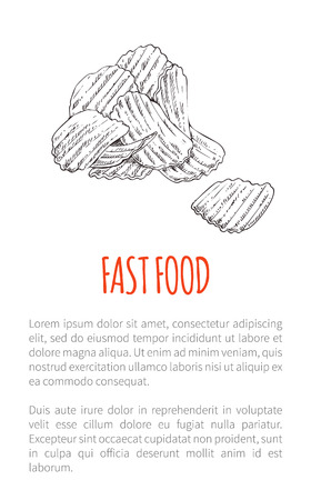 Fast food fried potato poster with text monochrome sketch outline. Drawn chips delicious snack crunchy lunch salted takeaway product fries vector Stock Vector - 124685866
