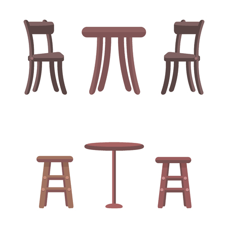 Wooden chairs and round tables isolated on white background. Furniture elements in flat style design. High chairs for children and two types of tables. Furniture for kitchen vector illustration