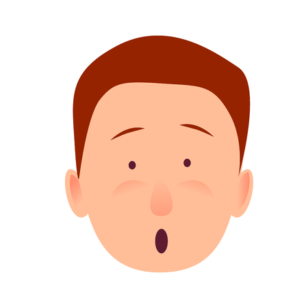 Bug-eyed man-child with open mouth flat design on white background. Surprised boy face close-up portrait. Vector illustration of character and face emotions in cartoon style hand drawn pattern. Illustration