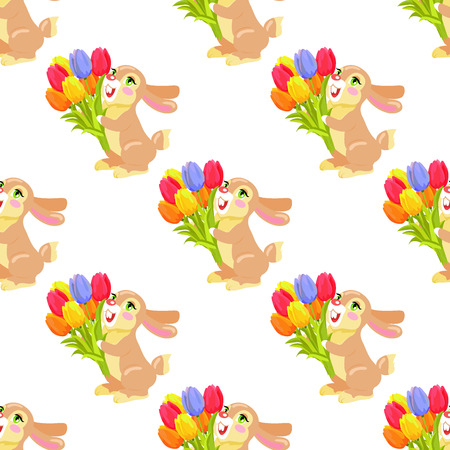 Seamless pattern with milk chocolate bunny and luxury bouquet of tulips isolated on white background. Vector illustration of endless texture with holiday mascot. Festive emblem of hare animal