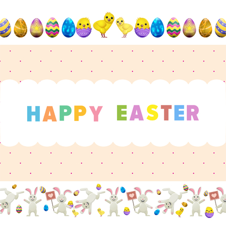 Happy easter vector flyer. Funny cute bunnies jumping around, little chicken in eggshell, painted colorful eggs vector on white. Easter festive concept for wrapping paper, greeting card design Ilustração
