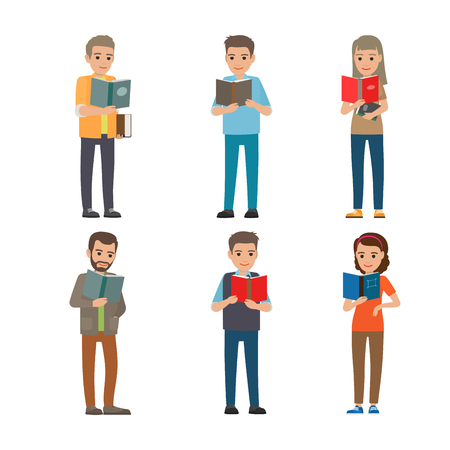 Six different people enloy reading books. Intelligent well-breed grown up characters on white background. Males and females holding one or two books in hands. Vector illustration of education process.