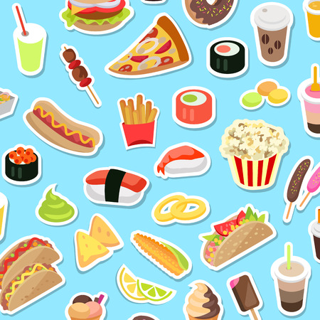 Fast and junk kinds of food scattered on blue background. Vector poster of pizza pieces, round sushi, pop corn, hot dog, ice cream on stick and in cone, drinks in covered cups with straws and doughnut