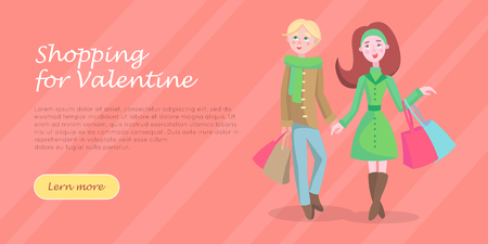 Beautiful woman with colorful paper bags and man vector illustration. Holiday Valentine shopping flat concept. Couple cartoon character make purchases icon. Buyer girl and boy on Valentines sale
