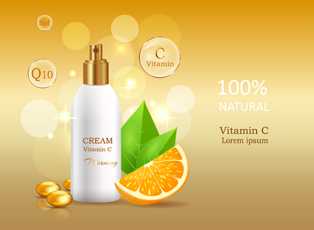 Vitamin C natural cream .Cream bank beside oranges with leaves. Advertisement of natural organic cosmetics. Means for skin care vector illustration.