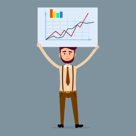 Young male cartoon character with beard in brown tie and trousers with suspenders holds big signboard with chart isolated on dark blue background. Businessman shows statistic vector illustration. Banque d'images - 119676027