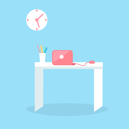 Stylish red notebook on white table with glass full of pencils isolated on blue background. Futuristic workspace vector illustration. White table with computer and stylish clock above the desk Illustration