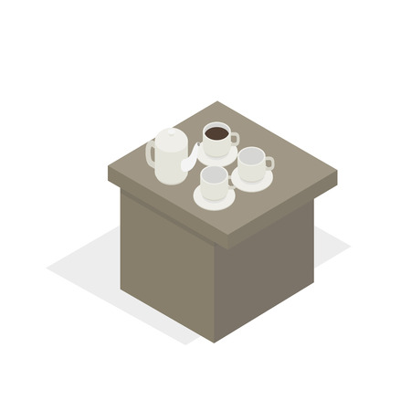 Table with porcelain tea set, break during business training on white background. Vector illustration of white teapot with two empty bowls, cup of coffee or tea standing on desk flat design.