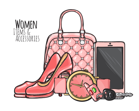 Women items and accessories. Illustration of pink purse, phone, high-heeled shoes, round watch with belt, car key with fob. Fashionable female objects. Poster. Cartoon style. Flat design. Vector Çizim