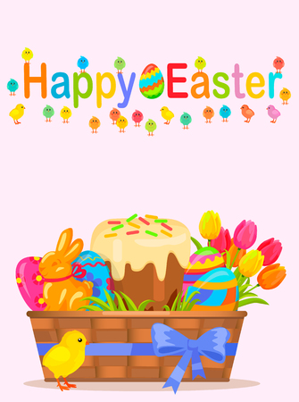 Happy easter flyer. Little chicken near wicker basket with painted eggs, sweet paschal bread, chocolate bunny and colorful tulips vector. Easter festive concept for wrapping paper, greeting card