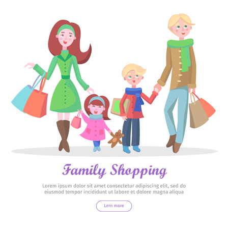 Family shopping banner. Young man and woman make purchases with kids cartoon flat vector illustration isolated on white background. Father and mother buying gifts on holiday sale with son and daughter Illustration