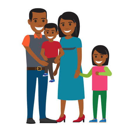 Two parents with little children. Smiling african american couple in casual clothing with son and daughter flat vector isolated on white. Happy family illustration for relations and parenthood concept