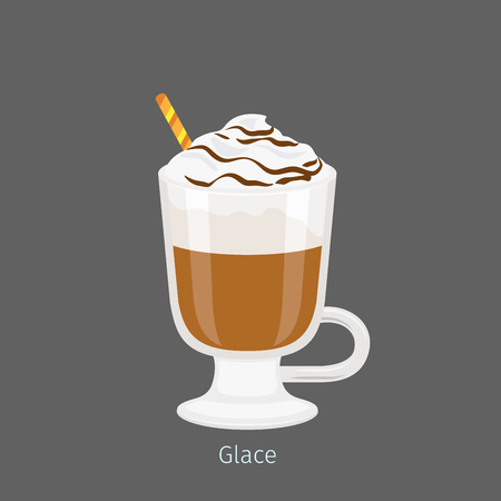 Irish glass mug with straw filled cold glace flat vector. Chilled invigorating drink with caffeine. Coffee with ice-ream poured chocolate syrup illustration for coffee house and cafe menus design Illusztráció