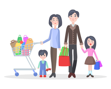 Family shopping concept isolated on white. Young man and woman make purchases with kids cartoon flat vector illustration. Father and mother buying gifts on holiday sale with son and daughter Ilustrace