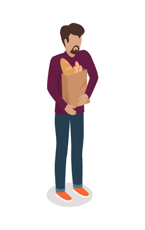 Man with paper bag full of baking vector illustration. Shopping daily products isometric concept isolated on white background. Bearded male character template make purchases in grocery store icon