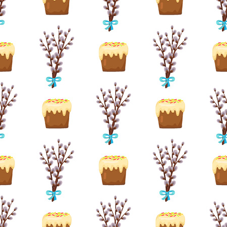 Seamless pattern in easter concept with branches of flowering willow gathered in beautiful bouquet and sweet cake with white topping isolated on white. Vector illustration of Easter plant and food Ilustração