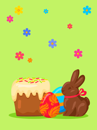 Easter festive concept with traditional holiday meals. Paschal kulich cowered glaze, bright painted eggs and chocolate bunny vector on flowery background. Easter sweets illustration for greeting cards