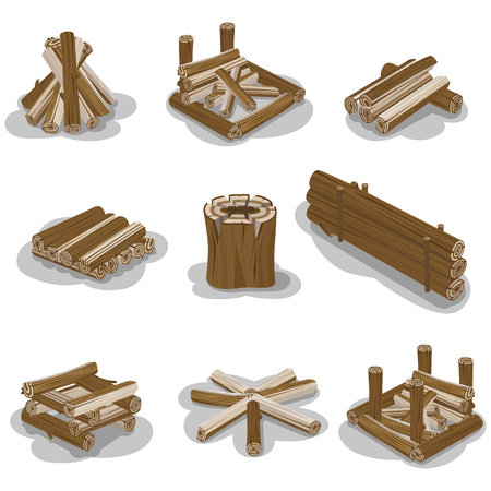 Campfire stump logs collection isolated on white background. Vector poster of wood pieces without fire put in various positions. Touristic burning firewood set in flat design cartoon style Banque d'images - 124238584
