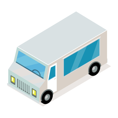 Vintage minibus isometric projection icon. Angular grey van isometric projection vector isolated on white background. Commercial transport vehicle 3d model for applications or game environment design