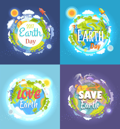 Earth Day 2017 advertising and agitating posters. Love and save our planet placards vector illustration. Wide Scale international event with ecology saving measures as main part of celebration.